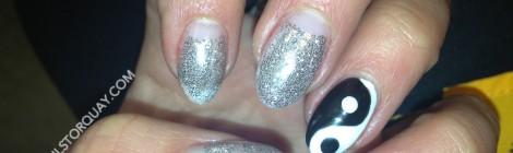 Silver Glitter Yin Yang Nail Art Manicure - Sara